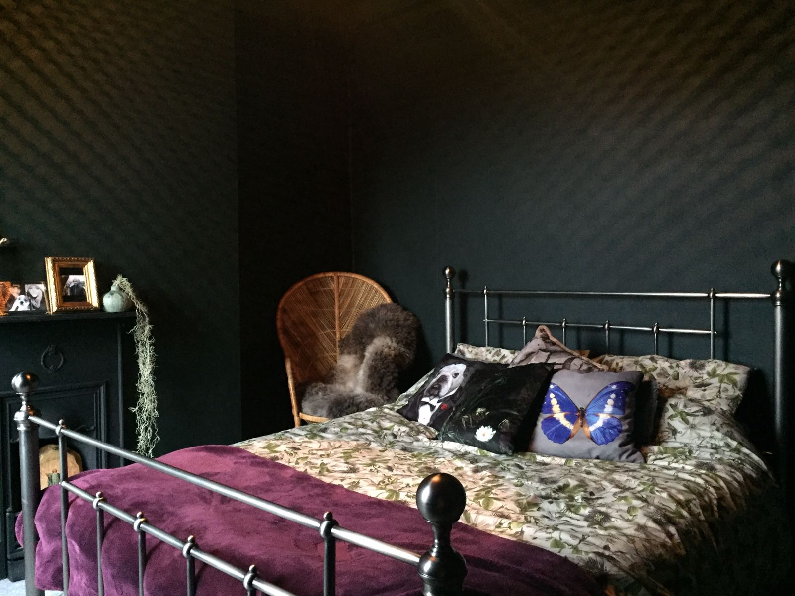 Dark Green painted bedroom